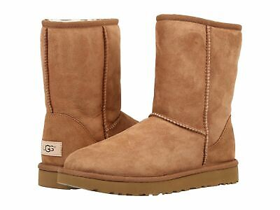 NEW UGG Australia Classic Short Brown Tan Boots Suede Sheepskin Chestnut Size 8