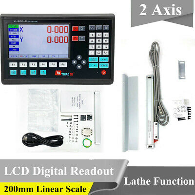 High Precision 2 Axis Digital Readout DRO LCD +200mm Linear Scale  Milling Lathe