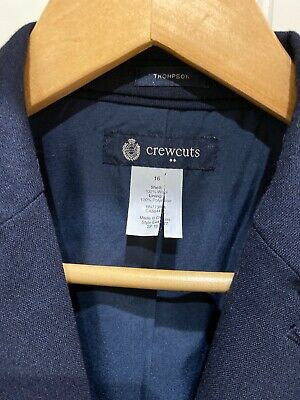 Crewcuts Thompson Suitcoat Jacket Wool Size 16 Navy Blue