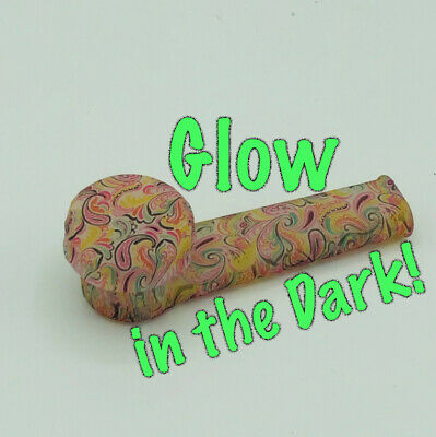 Silicone Smoking Pipe with Glass Bowl & Cap Lid | Glow-n-dark Paisley  | USA