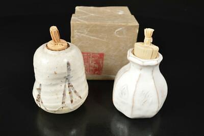 A7740: Japanese Shino-ware TEA CADDY Chaire Container 2pcs, Tea Ceremony