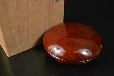 A7737: Japanese Wooden Lacquer ware INCENSE CONTAINER Tea Ceremony w/signed box