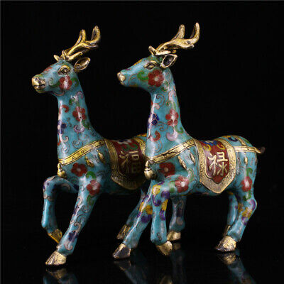 "8.66"" China copper gilt Cloisonne painting flower Handmade deer statue A pair"