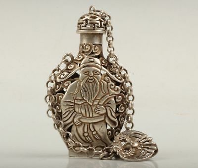 Chinese Old Tibet Silver Hand Carved lucky god Statue Snuff Bottle Netsuke