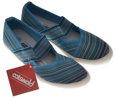 Ladies Casual Slip On Shoes Cotswold Chedworth Turquoise Multi EU Size 39