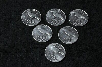 6 coins - 1999 Indonesian 200 rupiah - aUNC - all coins with mint bag indents