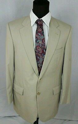 Brooks Brothers 40R Mens Khaki Tan Solid Cotton Blend Sport Coat Blazer Jacket