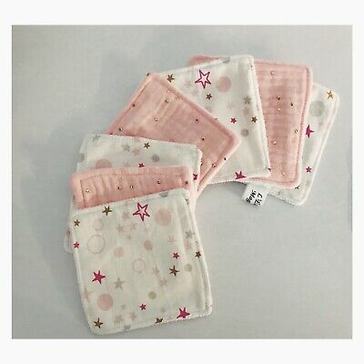 ** Lingettes  demaquillantes Lavables Double Gaze Rose Étoile  Lot De 7 **
