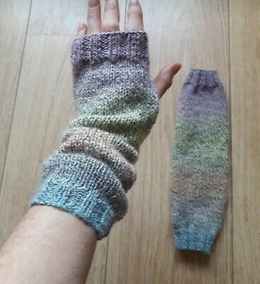 "Hand knitted long fingerless gloves 12"" - blue grey peach green pink"