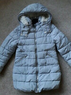 NEXT GIRLS COAT Age 6 yrs Fur Lined Parka Style GREAT CONDITION Silver Grey