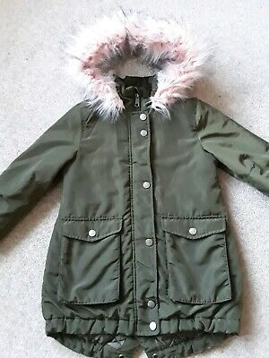 NEXT GIRLS COAT Age 6 yrs Fur Lined Parka Style GREAT CONDITION Pink fur trim