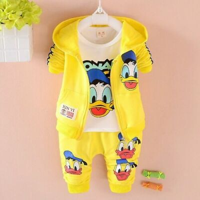 Toddler baby boys Girls Outfit Hooded coat+T shirt+pants clothes