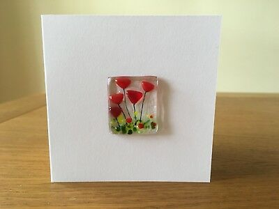 Fused Glass Red Flowers Tulips Card Birthday Anniversary Valentines Mother's Day