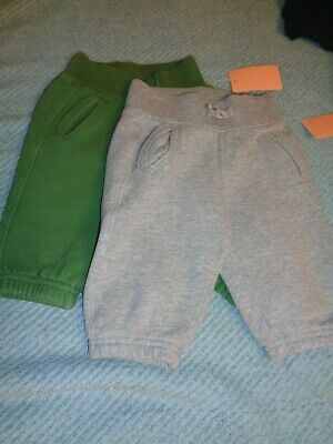 Baby Gap Boys Size 6-12 Months TWO PACK OF FLEECE PANTS/ONE GREEN/ONE GREY USED