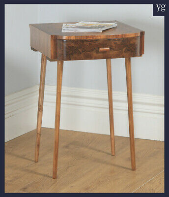 Antique English Art Deco Burr Walnut Bowed Bedside / Occasional Side Table c1930