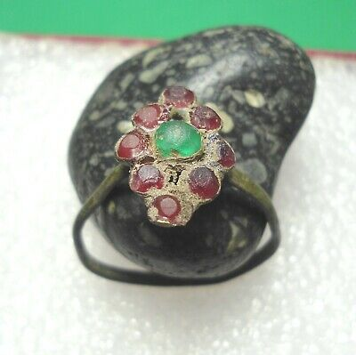 Ancient Roman Bronze Ring with Stones Original Authentic Antique Rare R851