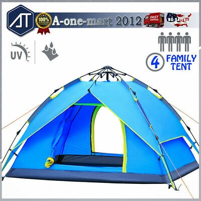 4-5 Person Family Pop Up Camping Tent Waterproof Backpacking Hiking Instant Tent