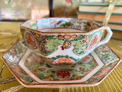 Vintage chinese Rose Canton Cup & Saucer, RARE Octagonal Shape, 1920s