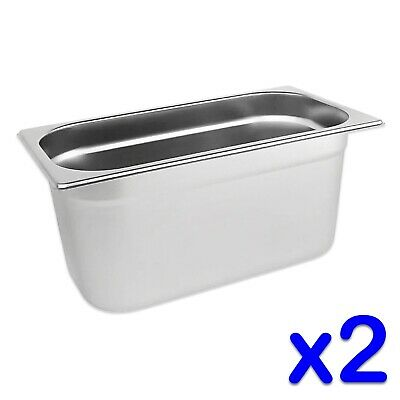 STAINLESS STEEL FOOD PANS POTS 2 x GASTRONORM 1/3 TRAYS 150mm DEPTH BAIN MARIE