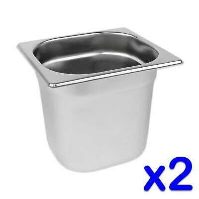 STAINLESS STEEL FOOD PANS 2 x GASTRONORM 1/6 CONTAINERS 150mm DEEP BAIN MARIE