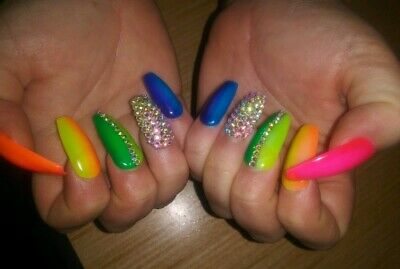 Rainbow ombre bling nails coffin PRESS ON NAILS neon crystal  pink orange yellow
