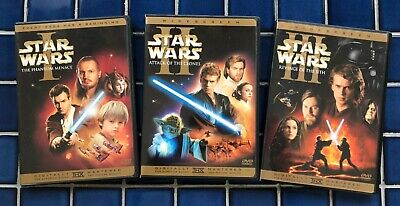 Star Wars Prequel Trilogy Episode I, II, III Widescreen 6-DVD Complete w/Inserts