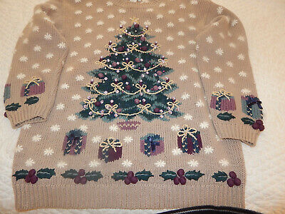 GREAT  Women's OR Mens Ugly/Tacky Christmas Sweater Hand Embroidered  L