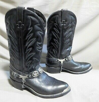 Mens Acme Black Leather Star Ankle Harness Cowboy Rodeo Western Boots Sz 9 D