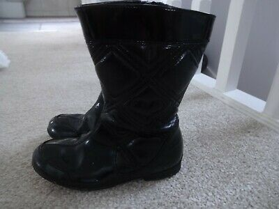 Clarks girls childrens black patent faux leather boots  size 9