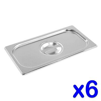 STAINLESS STEEL CONTAINER LIDS x 6 GASTRONORM 1/3 SIZE BAIN MARIE FOOD PAN TRAY