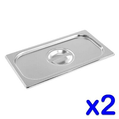 STAINLESS STEEL CONTAINER LIDS x 2 GASTRONORM 1/3 SIZE BAIN MARIE FOOD PAN TRAY