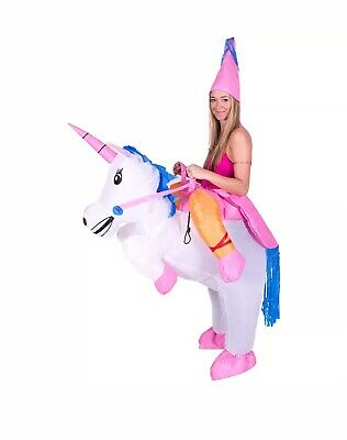 Child Adult Inflatable Funny Blow Up Fun fancy dress unicorn Ride costume outfit