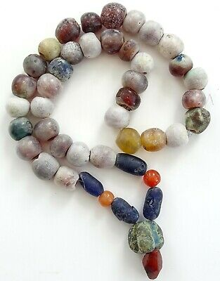 Authentic Ancient Viking Artifact Bead Necklace 700-1000 Ad 39Cm Glass / Stone