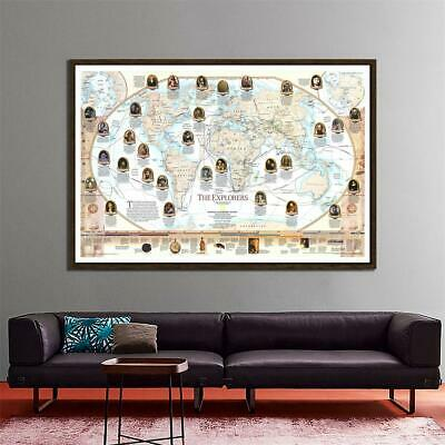 World Map History of The Explorers Large Poster Prints Wall Backdrop Decoration