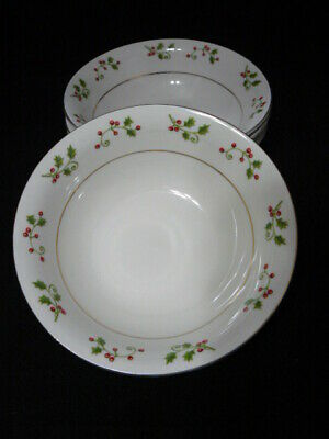 Gibson Everyday Christmas Holly & Berries Soup/Cereal Bowl By Gibson Designs
