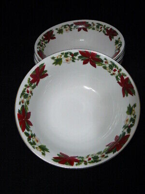 Gibson Everyday Christmas Earthenware Soup Bowl W/Poinsettias-Holly&Berries