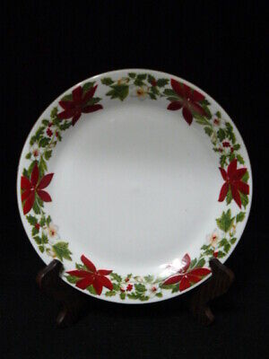 Gibson Everyday Christmas Earthenware Dinner Plate W/Poinsettias-Holly&Berries