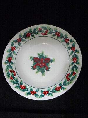 Gibson Houseware Christmas Earthenware Soup Bowl-Holly&Berries-Rimmed-8""