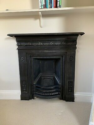 Antique Cast Iron Victorian Fireplace With Mantelpiece