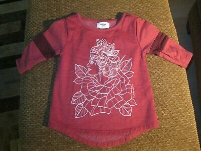 Toddler Girls Old Navy Graphic Sweatshirt-Dark Red-4T