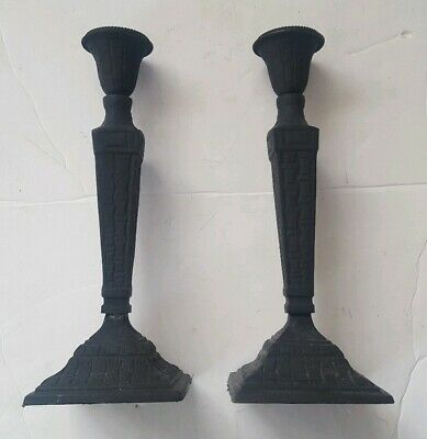"""Vintage Black Cast Iron Candlestick Holders Pair 11.5"""" Tall Bamboo Print"""