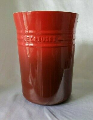 "LE CREUSET Ombre Cerise Red Stoneware CANISTER Crock JAR Utensil 10""x7"""
