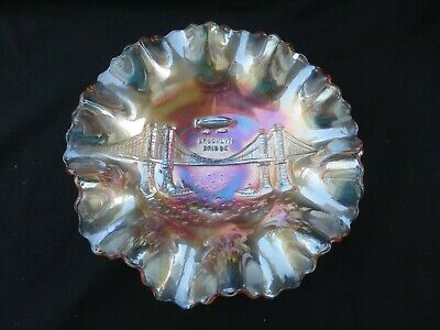 "Rare Vintage Dugan ""Brooklyn Bridge"" Marigold Carnival Glass Bowl"