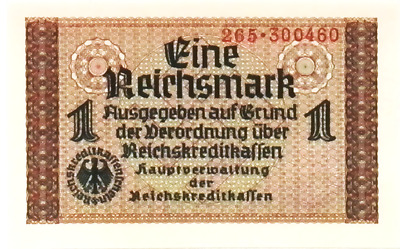 1939  NAZI Germany OCCUPIED TERRITORIES 1 Reichsmark Banknote SWASTIKA  UNC