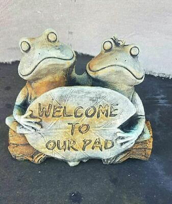 Welcome To Our Pad Frog Concrete Outdoor Garden Statue Ornament
