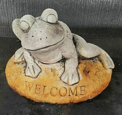 Welcome Frog On Rock Concrete Outdoor Garden Statue Ornament
