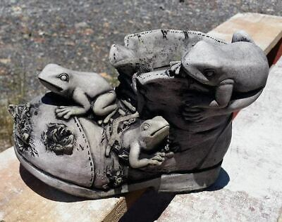 Frogs on Ripped Shoe Boot Concrete Outdoor Garden Statue Ornament