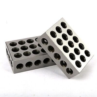 "1 Matched Pair Ultra Precision 1-2-3 Blocks 23 Holes .0001"" Machinist 123 US"