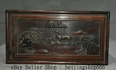 "12"" Old Chinese Huanghuali Wood Dynasty Sika Deer Scenery Storage Box Container"