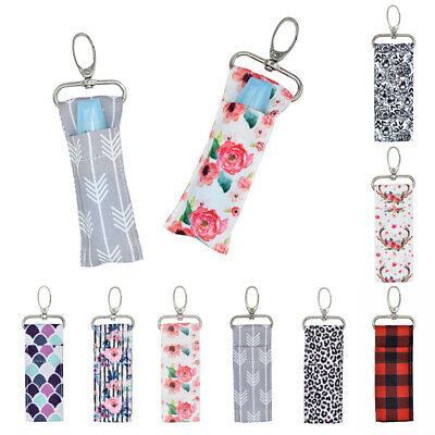 Women Lip Balm Bag Chapstick Lipstick Holder Printing Keychain Pouch Key Ring
